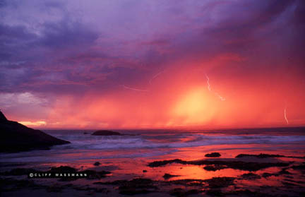 lightning at sunset